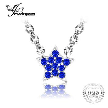 JewelryPalace 0.35ct Created Blue Spinel 925 Sterling Silver Fine Jewelry Star Necklace & Pendant Women Fashion Accessories 2017