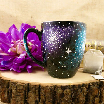 Hand Painted 16oz Galaxy Ceramic Mug