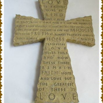 Inspirio Resin Cross Zondervan 2000 Love is Patient Kind Ist Corinthians Bible