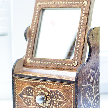 Dark brown woodburned mirror jewelry box / Big floral ethnic wooden keepsake box / Pyrography