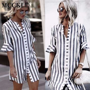 MCCKLE Women Striped Ruffled Sleeve Blouse Summer High Street Stand Collar Casual Long Shirt Women's Button Fashion Clothing Top