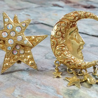 Kirks Folly Moon and Stars Earrings Gold Metal Sparkling Rhinestones Big Chunky Clip On Earrings Brand New Comfort Ear Pads Soooo Fun!
