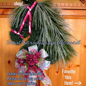 Pink Horse head wreath, Christmas wreath, equestrian decor, sleigh, snow, holiday wreath, equestrian gifts, Christmas swag, barn decor, sale