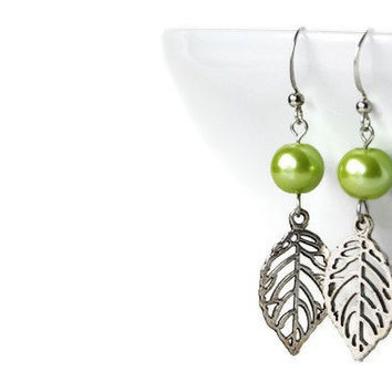 Lime Green Leaf Earrings with Glass Pearls and Leaf Charm on Nickel Free Hooks. Beaded Earrings.