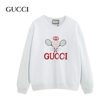 GUCCI autumn new fashion baseball embroidery round neck long-sleeved sweater