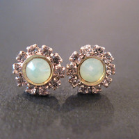 Chrysolite Opal  Swarovski Crystal Stud Earings/ Custom Order Jewelry/ Bridesmaid Jewelry/ Wedding Jewelry/Crystal Earings