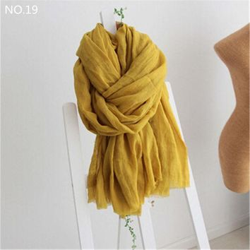 DCCKJG2 2016 Womens Fall Fashion Cotton Linen Wrinkled Long Wool Scarf Shawl Wrap  200*160cm Scarves Bikini Sarong Scarf Cover Up CJ191