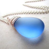 Sea Glass Seaglass Necklace Blue Cobalt Wire Wrapped Necklace