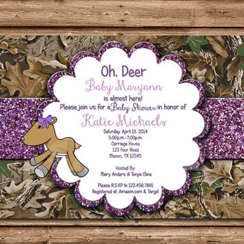 Printable Hunting Baby Girl - DIY Hunting Baby Shower - Deer Baby Shower - Hunting Baby Shower Invites - Doe Baby Shower - Glitter Doe