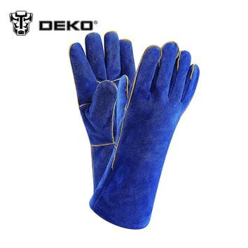 DEKOPRO 13.4 Inch Leather Welding Gloves - For Tig Welders/Mig/Fireplace/Stove/BBQ/Gardening/Welding Mask/DIY Wood Working