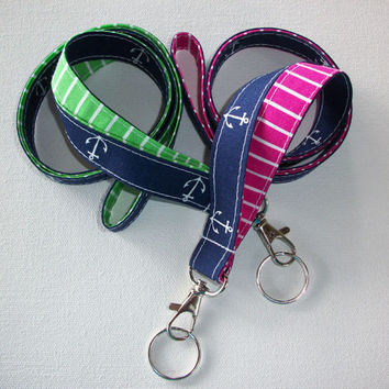 Lanyard  ID Badge Holder - Anchors - Lobster clasp and key ring - navy blue  white with green or pink white stipes two toned double sided
