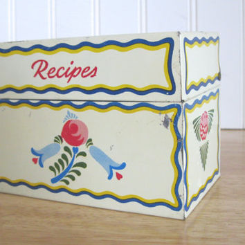 Vintage Metal Recipe Box Ohio Art MCM Retro Kitchen Red Blue Yellow Dutch Print