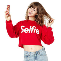Red Selfie Printed Crop Sweater Jacket