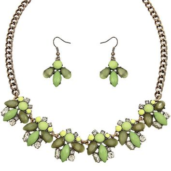 Charlotte Statement Necklace in Mint Green