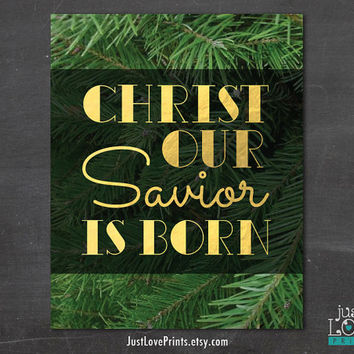 Christ Our Savior Is Born - Silent Night - Christian Poster Art - 8x10 Print