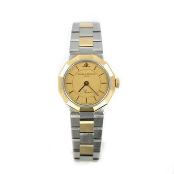BAUME & MERCIER RIVIERA 5220 TWO TONE SS & GOLD PLATED SMALL QUARTZ WOMENS WATCH