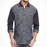 FITTED COLOR BLOCK DENIM SHIRT