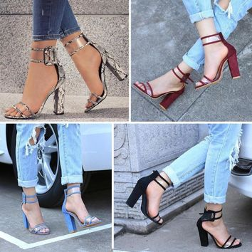 Kiley Ankle Strap Block Heel