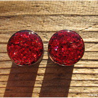 Rupee Red Glitter Plugs - 3/4, 7/8, 1 Inch