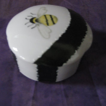 """Trinket Bee Box Pill  3"""" wide x 1.5"""" tall with Black strips Porcelain/ceramics/pottery Gift Jewelry rings Hand painted kiln fired by B Marsh"""
