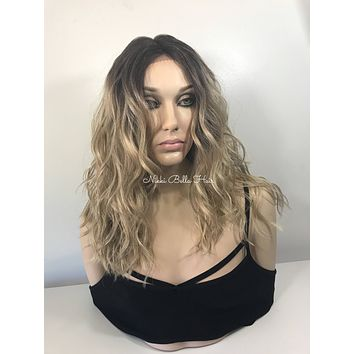 """Sombre' White Ash Blonde Balayage' Mutli Parting Lace front wig 14"""" - Helen"""