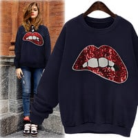 Sexy lips sequined sweater