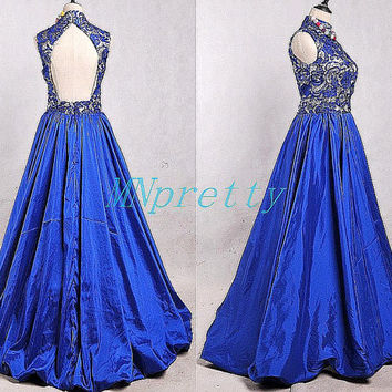 Vintage 80s Long Royal Blue Backless Taffeta Evening Dresses,Lace Applique Taffeta Prom Dresses,Long Bridesmaid Dresses,Homecoming Dresses