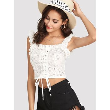Lace Up Front Ruffle Crop Top White