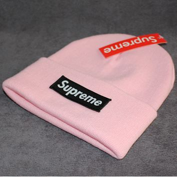Supreme warm winter hat patch letters wool cap Pink