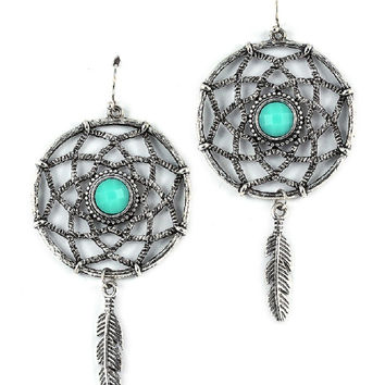 Boho Gypsy Chic Indian Trival Turquoise Dream Catcher Earrings