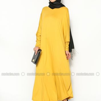Modanisa - Bat Sleeve Dress - Yellow - Eflatun