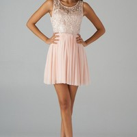 Peach Fit & Flare Dress with Lace Top & Pleated Skirt