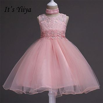 It's YiiYa 5 Colors Sleeveless O-Neck Crystal Sashes Lace Bow Kids Princess Flower Girls Dress Party Communion Dress TS085