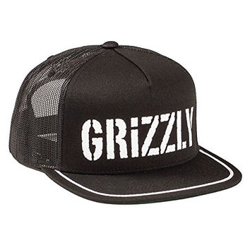 Grizzly Griptape Men's Field Map Trucker Snapback Hat Black