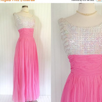 25% OFF candy pink vintage 1960s white sequin bust sheer chiffon draped prom maxi dress // gathered waist full sweep // size M