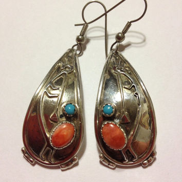 Turquoise Spiny Oyster Kokopelli Earrings Zuni Judy Wallace Sterling Silver 925 Blue Red Orange Vintage Southwestern Tribal Jewelry Gift USA