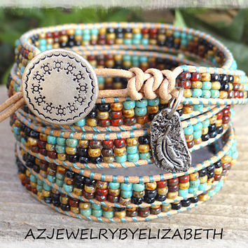 Southwestern Leather Wrap Bracelet/ Men's Seed Bead Leather Wrap Bracelet/ Native American Leather Wrap Bracelet/ Beaded Leather Bracelet.