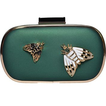Brand Designer Insects Pattern Black Pu Clutch Evening Bag Women Chain Mini Handbags Fashion Butterfly Party Purse Clutches