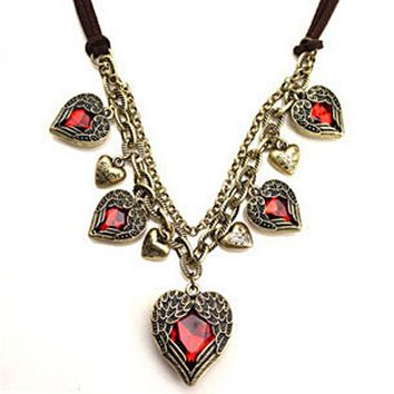 Vintage Angel Wings Red Heart Necklace