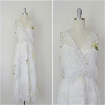 Vintage Inspired Rickie Freeman Couture Silk Chiffon Print Dress.
