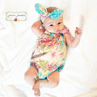 Baby Romper, Baby Girl Clothes, Bubble Romper, Baby Girl Outfits, Baby Headband Set, Infant Headband, Infant Girl Outfit, Infant Clothing