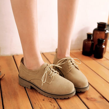 Round Toe Faux Suede Lace Up Women Shoes Low Chunky Heels 2208