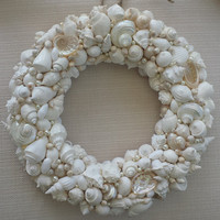 Beach Decor, Shell Wreath, SeaShell Wreath, Handmade Shell Wreath White /Ivory/ cream, Beach Wedding Decor, Beach Wedding Gift