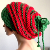 Women's Knitted Slouchy Beanie/ Green and Red Handmade Slouchy Beanie