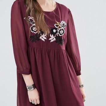 Alice & You Embroidered Swing Dress at asos.com