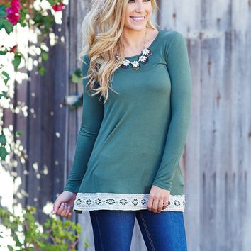 Olive-Green-Crochet-Border-Long-Sleeve-Top