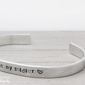 I love my soldier bracelet, handstamped cuff, Soldier Jewelry, Personalized Bracelet, Military Spouse, Personalized Jewelry, Army Wife Cuff