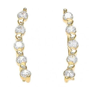 Gold Layered 02.156.0182 Leverback Earring, Heart Design, with White Cubic Zirconia, Polished Finish, Golden Tone