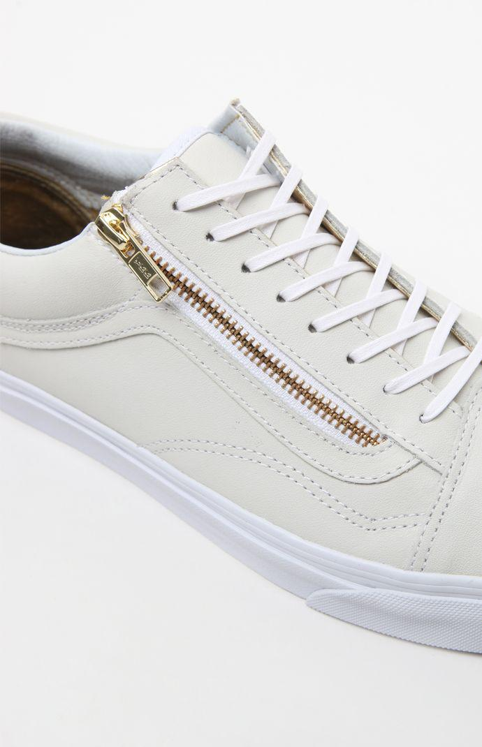 ff151d44c9 Vans Leather Old Skool Zip White   Gold Shoes - Mens Shoes - White Gold