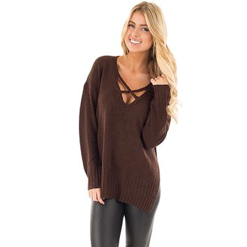 Chicloth Brown Deep V Neck Crisscross Knit Sweater